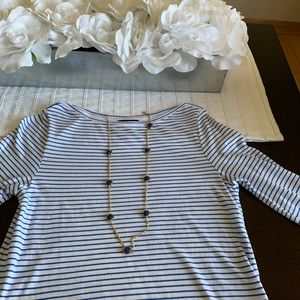 Gap Blue and White Striped 3/4 sleeve Dress small